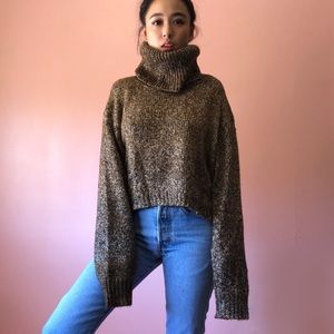 H&M Chocolate Cropped Turtleneck